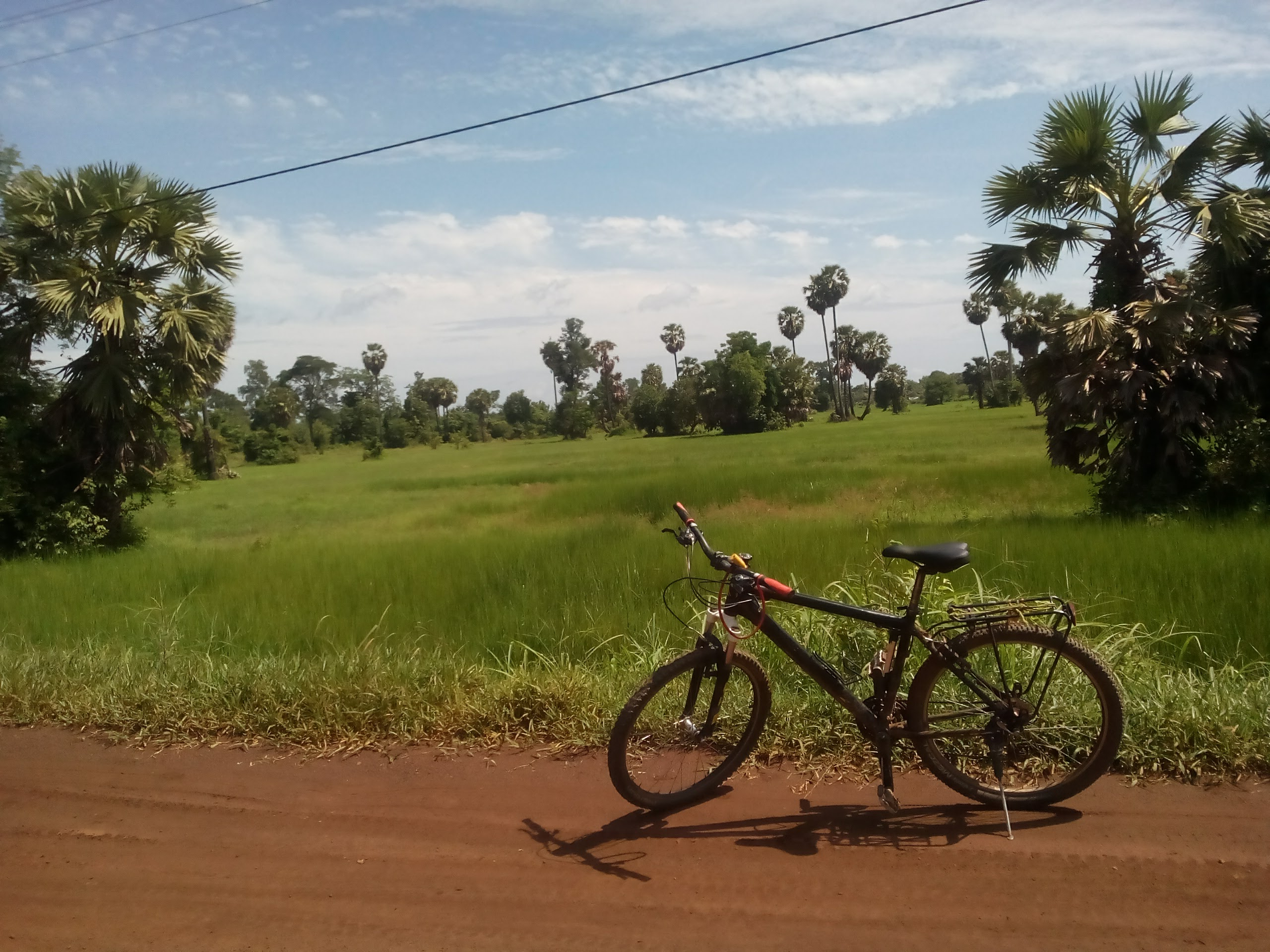 My mountain bike sits near a rice field outside of Preah Vihear Cambodia on into Foreign Lands
