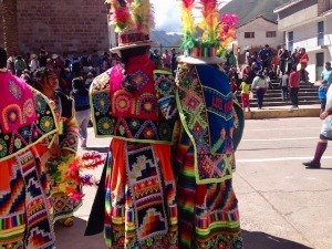 traditional peruvian festival costumes in pisac