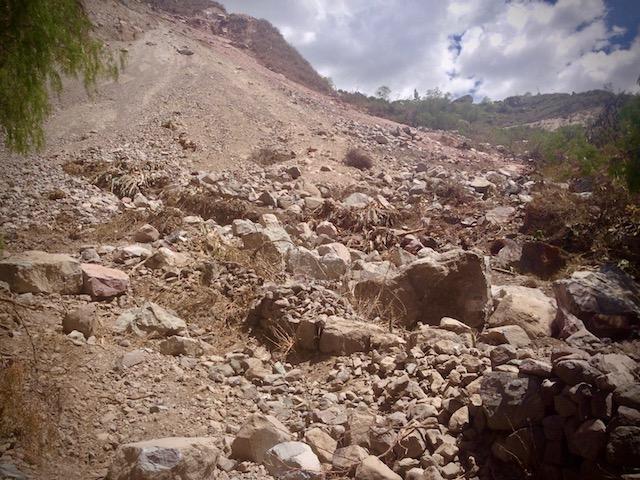 Landslide below Tapay Colca Canyon
