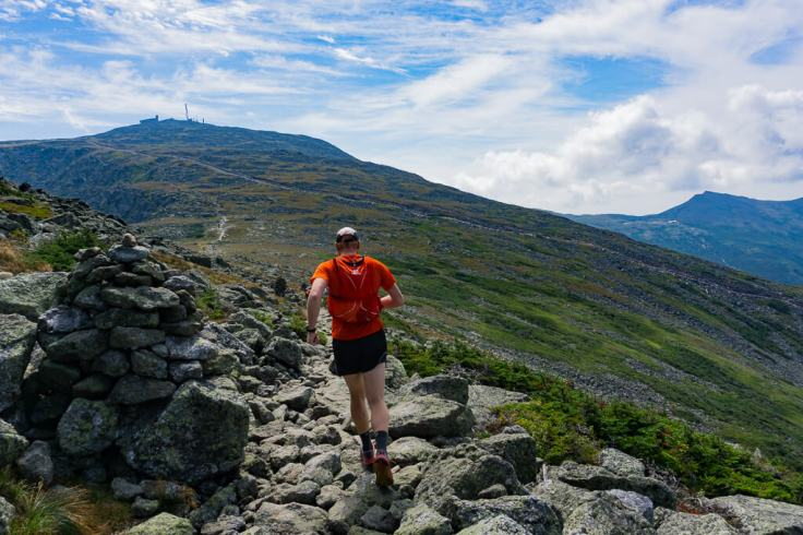 Trail Runner on the Presidential Traverse to Mount Washington