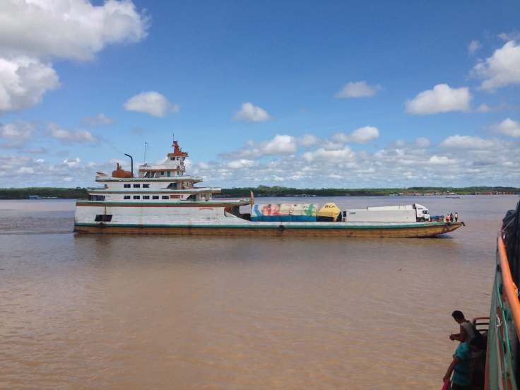 boat waits at the dock in Pucallpa