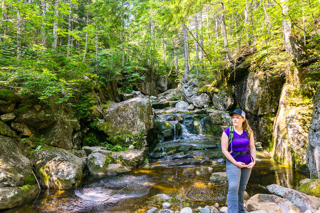 Megan Brake stands in front of waterfall in Wild River Wilderness
